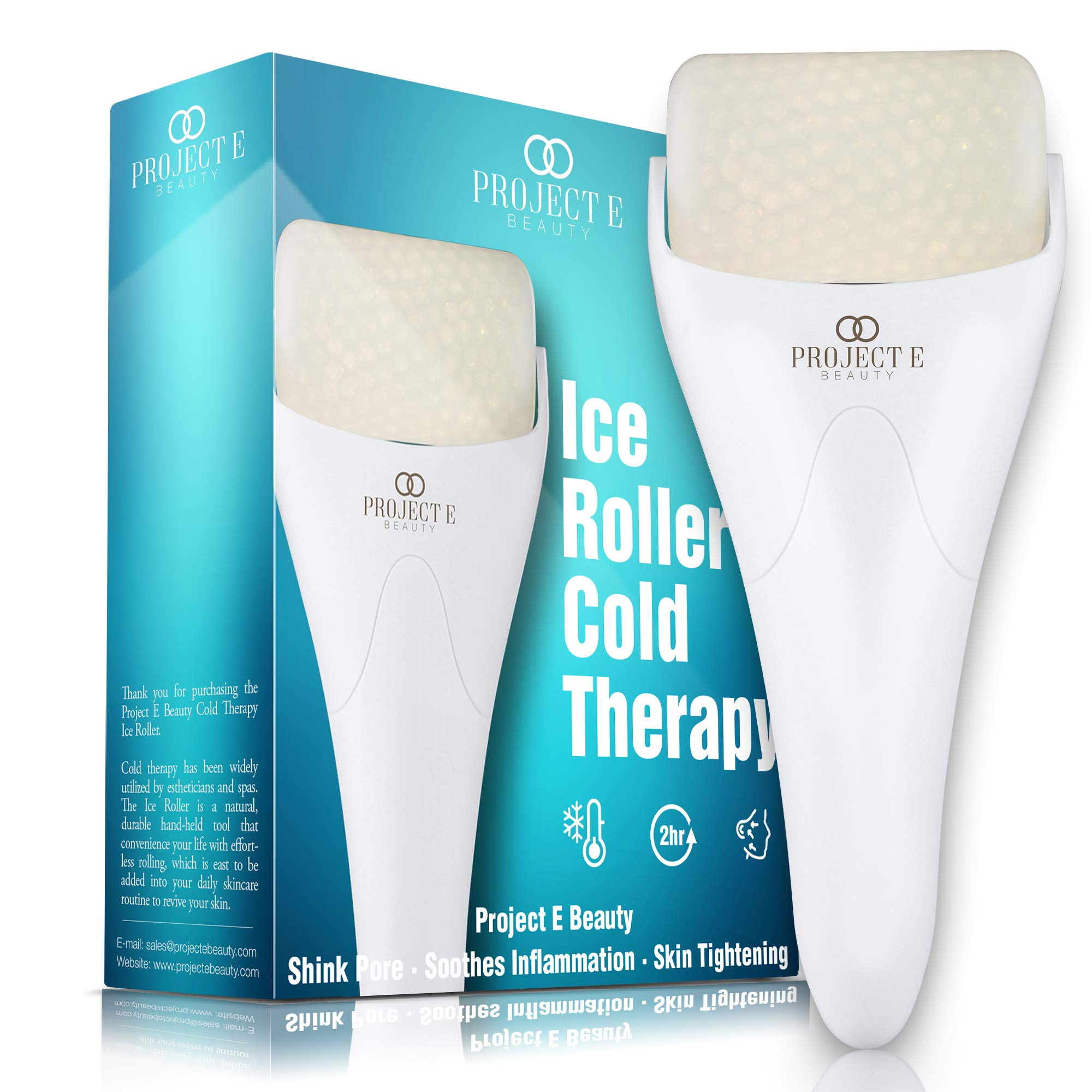 Ice Roller Massager for Face Eye Body Massage Under Eye Puffiness Brightening Cooling Therapy Cool Roller Skin Tightening Skin Care Reduce Wrinkles Dark Circles Muscle Soreness Pain Relief Redness by Project E Beauty