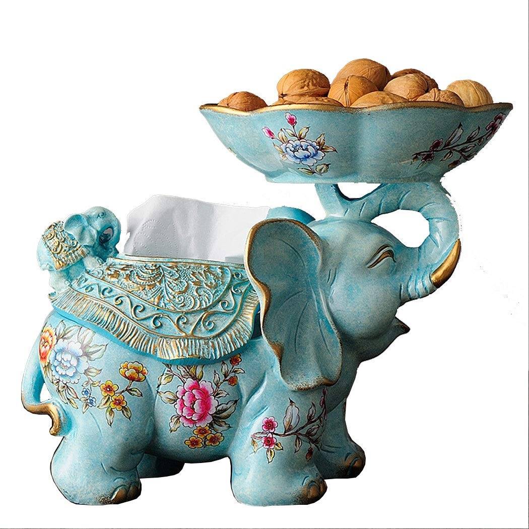 HONGNA European Elephant Fruit Plate Living Room Coffee Table Decoration American Luxury Ornament Candy Dried Fruit Plate Porch Key Bowl 3425.5cm (Color : Light Blue)