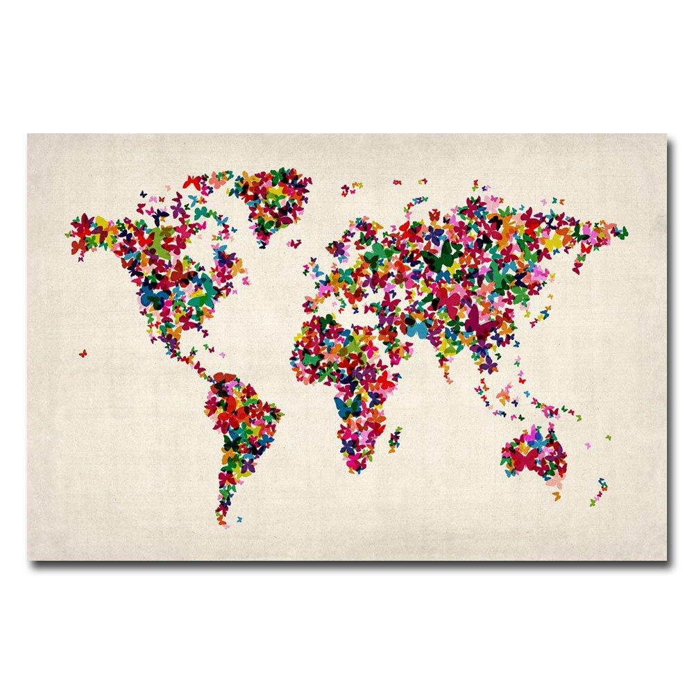 amazoncom butterflies world map by michael tompsett 22x32 inch canvas wall art prints posters prints
