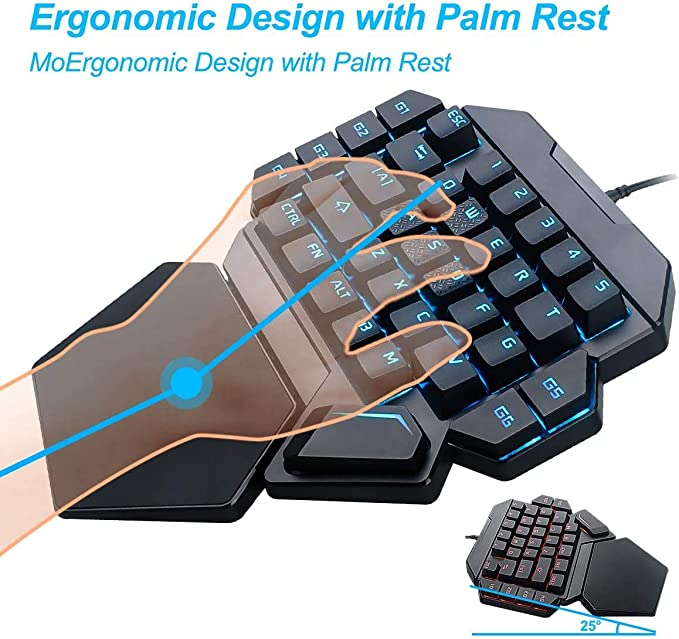 Laelr Teclado para juegos, teclado mecánico para juegos de una mano 35 teclas con teclado mecánico USB con retroiluminación RGB Controlador de juegos ...