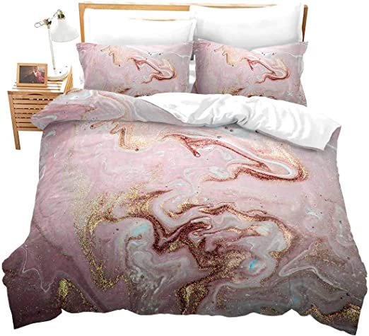 Amazon Com Colorful Marble Duvet Cover Twin Girls Pastel Pink