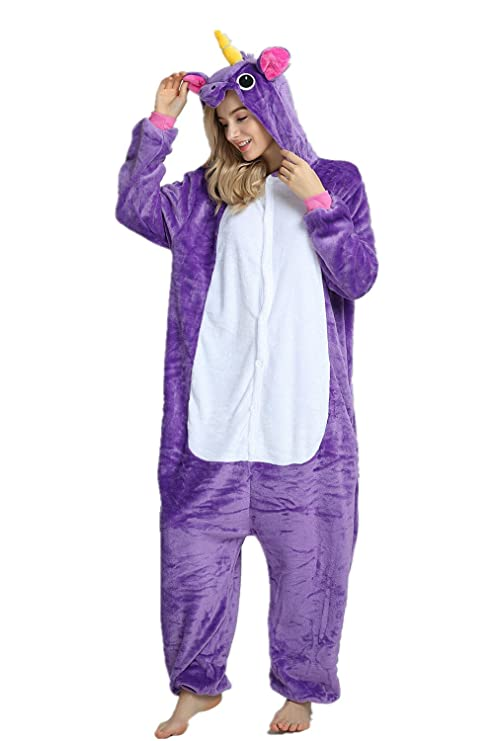 Missley Adulto Unisex Flanela Unicornio Cartoon Animal Novedad Halloween Pijama Cosplay (L, Purple): Amazon.es: Juguetes y juegos