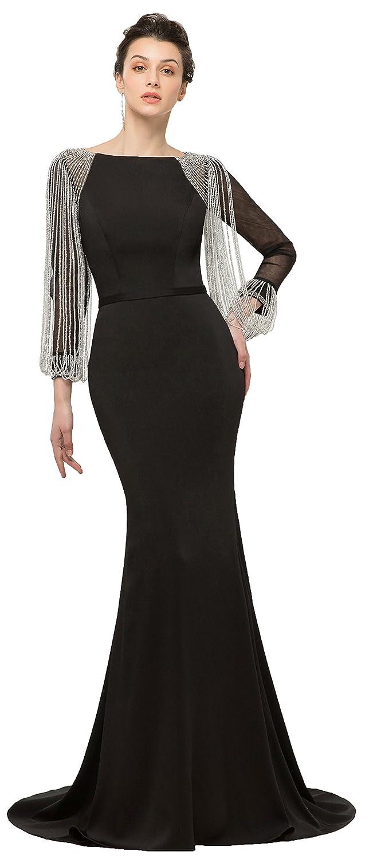 Black OkayBridal Women's Mermaid Evening Dresses Long Sleeves Spandex Crystal Beaded Long Formal Party Prom Gown