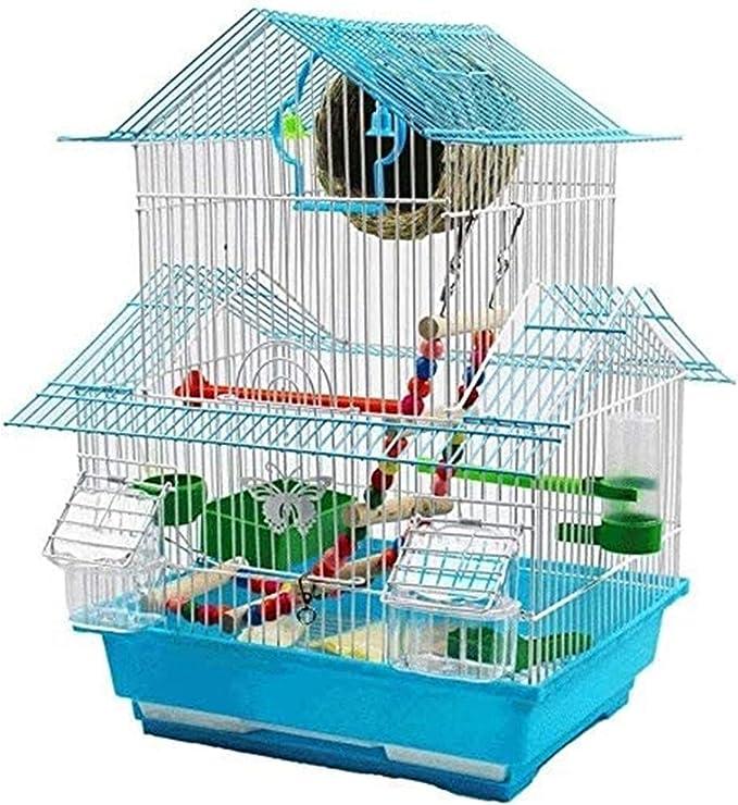 Jaula dpájaros duradera y ecológica, Parrot Jaula Birdhouses High 48cm Jaula de pájaros de techo de tres pisos para Parrot Pequeñas aves con bandeja deslizante 1 Beber fuente y 2 tazas de alimentación