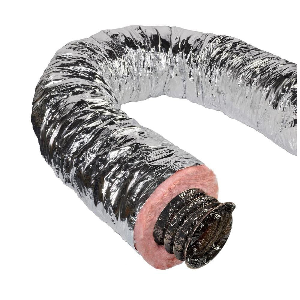 Master Flow 14 in. x 25 ft. Insulated Flexible Duct R6 Silver Jacket