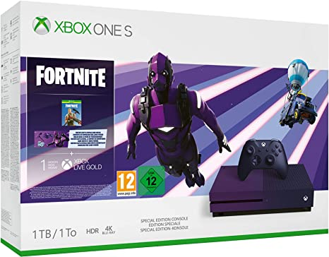 Microsoft Xbox One S - Consola de 1 TB, Degradado Morado + 1 Mando Morado, 1 Mes de: Xbox Live Gold (Digital) + Game Pass (Digital) + Fortnite Con Skin Dark Vexter + 2000 V-Bucks: Microsoft: Amazon.es: Videojuegos
