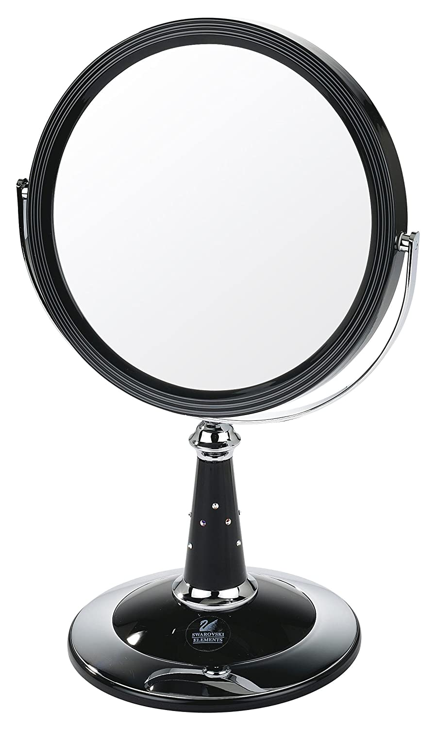 makeup mirror target. uv finish pedestal mirror with swarovski elements black/chrome true image x7 magnified 29cmx17.5cm: amazon.co.uk: beauty makeup target