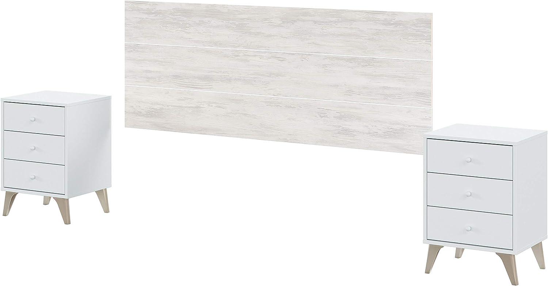 Cabezal + Dos mesitas de Noche, Cabecero para Cama de Matrimonio, Modelo Sweet, Blanco Artik y Blanco Velho, Medidas: 272 cm (Ancho) x 116 cm (Alto) x 33.5 cm (Fondo)