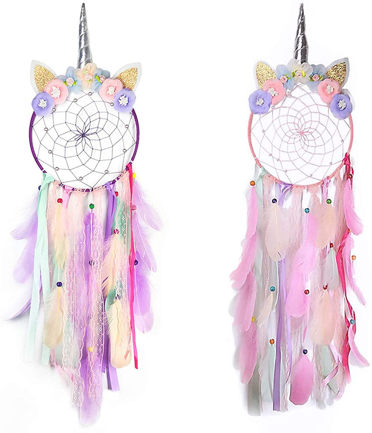 Rozwkeo 2 pcs Unicorn Dream Catchers for Girls Baby Kids Bedroom Teen Room Wall Decor Pink with Purple Dream Catcher Flowers Wall Hanging Decoration for Nursery Home Feather Ornament Festival Gift