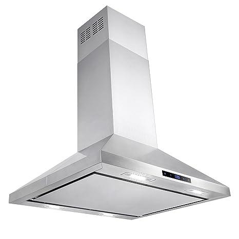 AKDY 30u0026quot; Modern Kitchen Island Mount Stainless Steel Powerful Range  Hood Cooking Fan LED Display