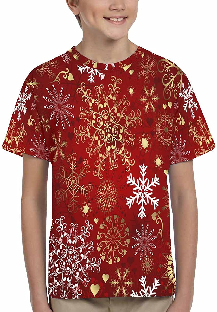 INTERESTPRINT Childs T-Shirt Christmas Gold and White Snowflakes XS-XL