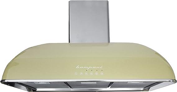 Campana extractora premium Bompani BO CR 904, color crema, 90 cm, campana de pared con aspecto nostálgico, motor extremadamente potente con 1100 m3/h, 4 niveles con turbo, campana con iluminación LED, campana