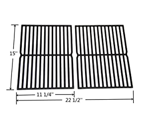 """VICOOL HyG752B Cast Iron Grill Grates 7522 7523 7521 65904 65905 Replacement for Weber Spirit 200 Series, Spirit 500, Genesis Silver A Gas Grills, Set of 2 (15"""" x 11.25"""" Each)"""