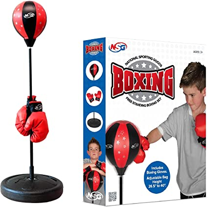 NEW FREE STANDING CHILDREN KID JUNIOR BOXING PUNCH BAG BALL WITH GLOVES PLAY SET