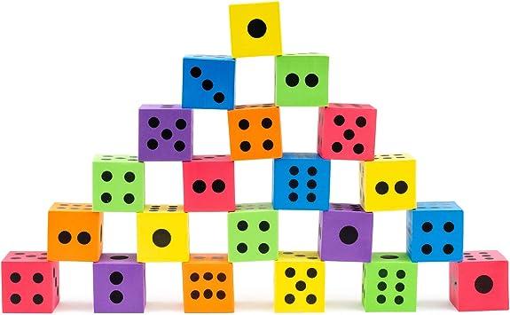 Paquete Jumbo de 24 Dados de Espuma - 6 Colores Surtidos - Ideales para juegos de mesa, - Artículos