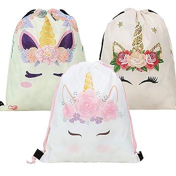 Paquete de 3 mochilas de unicornio con cordón, bolsas de ...