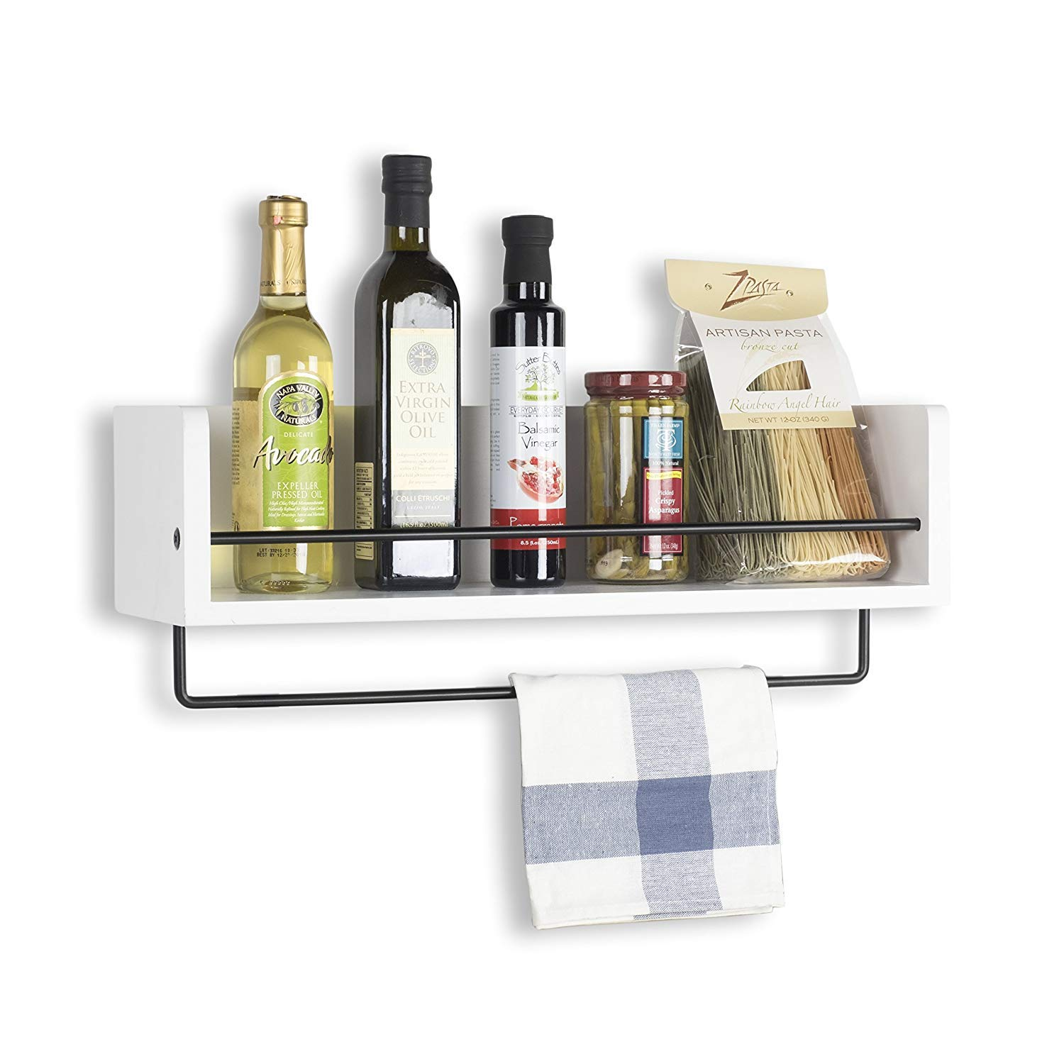 Indian Decor 28476 Kitchen Mdf Wood Wall Shelf With Metal