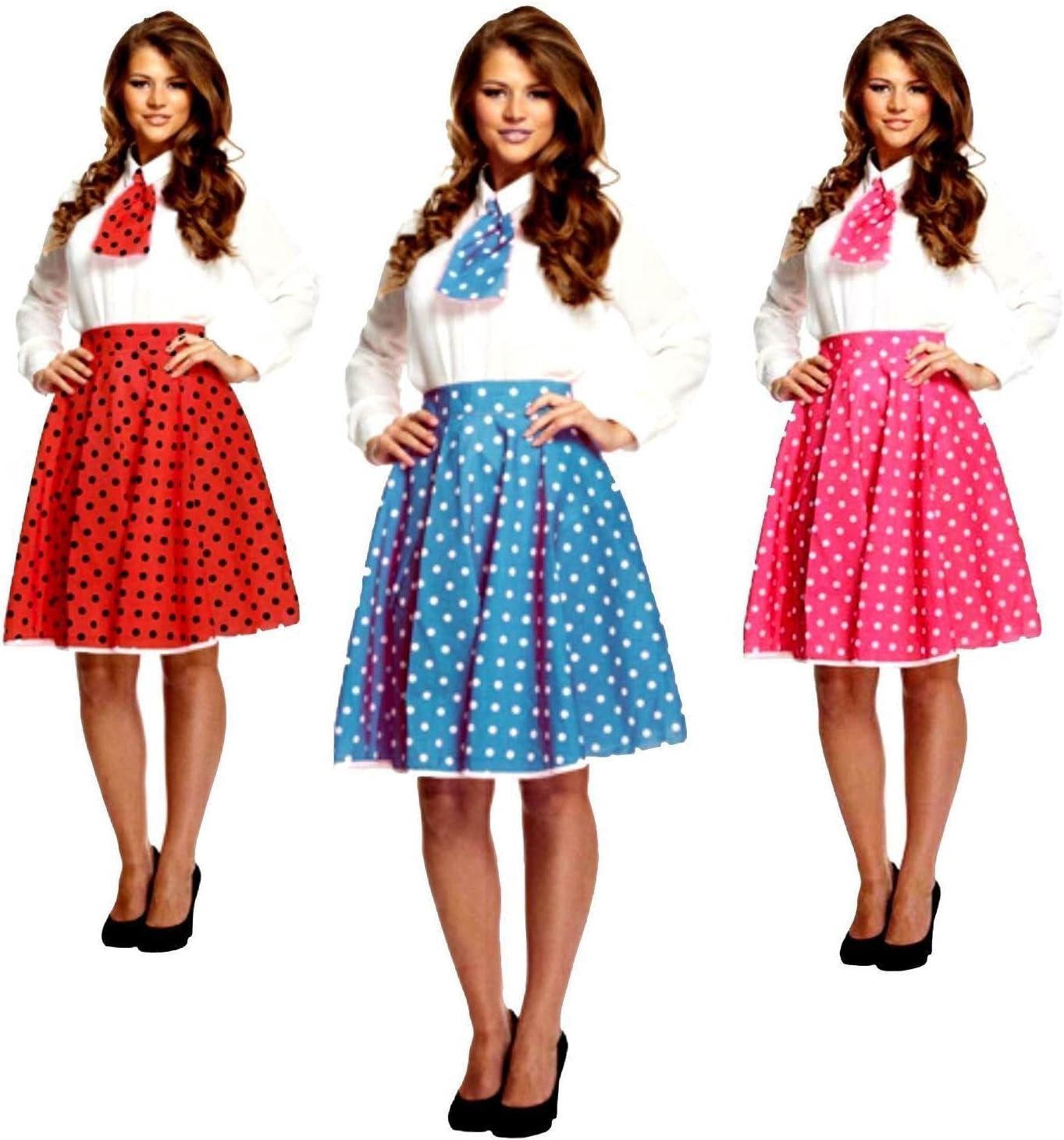 ladies womens fancy dress costume 50S ROCK N ROLL SKIRT /& SCARF PINK UK 10-14