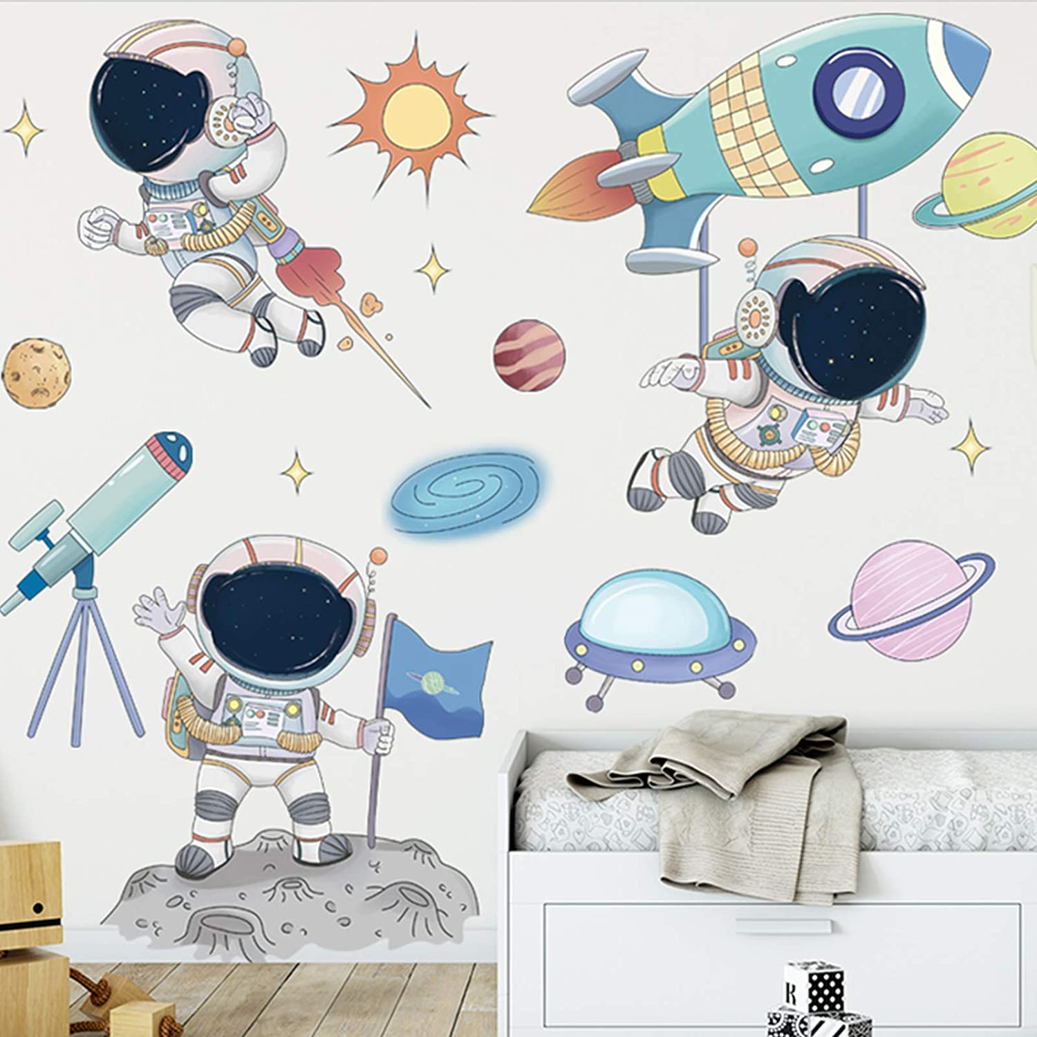 Astronaut Wall Stickers, DILIBRA Planet Space Walk Spaceship DIY Art Vinyl Removable Murals Wall Decals, Cartoon Spaceman Cosmonaut Art Decorations for Kids Boys Bedroom Playing Room (Astronaut4)