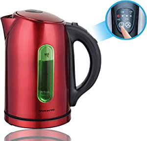 Ovente Electric Stainless Steel Hot Water Kettle 1.7 Liter with 5 Temperature Control & Concealed Heating Element, BPA-Free 1100 Watt Tea Maker with Auto Shut-Off and Keep Warm Setting, Red KS88R