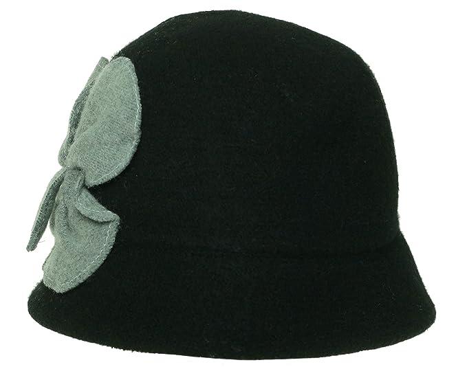 17c86a77189 August Accessories Women s Black Wool Blend Cloche with Grey Flower ...