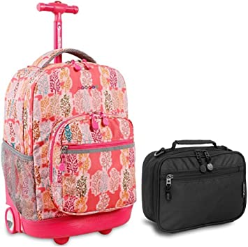 Water Mark J World Sunrise Rolling Backpack and Corey Lunch Bag Bundle Set