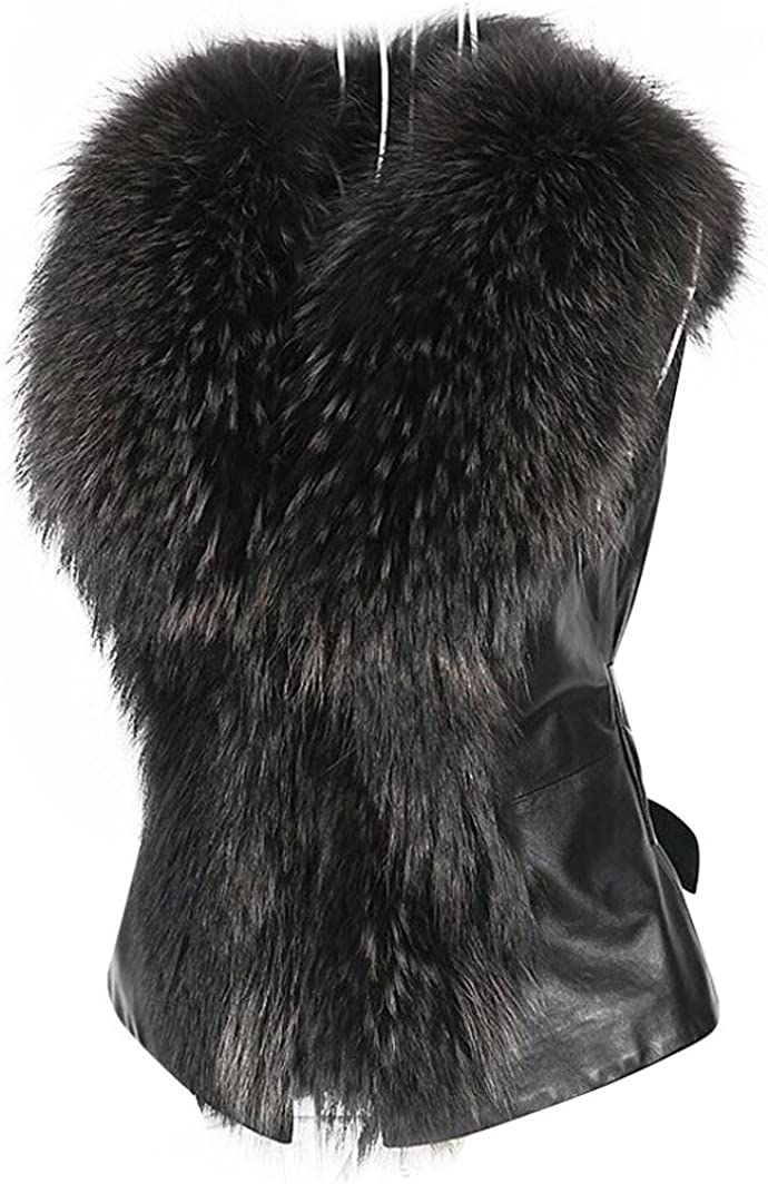 Malltop Womens Faux Fur Collar Vest Jacket Sleeveless Winter Warm Waistcoat