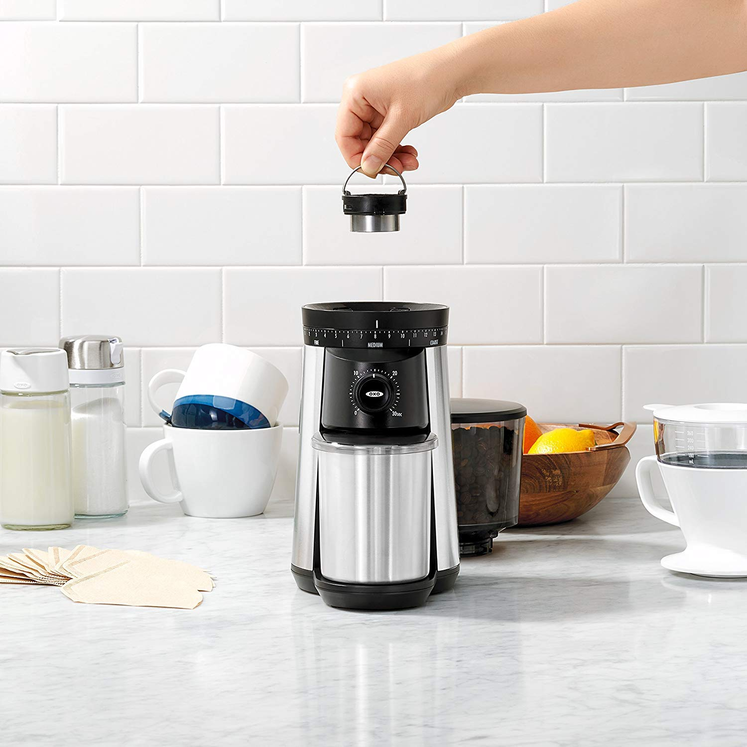 OXO Conical Burr Coffee Grinder with 4 oz Silver Canyon Coffee