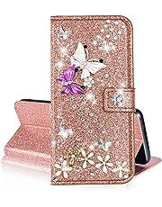 QC-EMART Cover per Samsung Galaxy A50 Custodia in Pelle Oro Rosa Glitter Paillette Luccichio Farfalla Portafoglio Porta Carta Guscio Caso Case Protettiva Custodie Cellulari per Ragazza