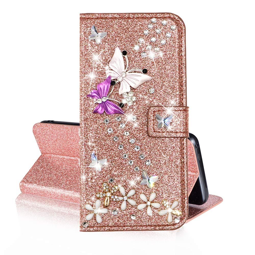 J4 Plus 2018 Custodia in Pelle Rosa Glitter Paillette Luccichio Farfalla Portafoglio Porta Carta Guscio Protettiva Caso Custodie Cellulari per Ragazza QC-EMART Cover per Samsung Galaxy J4+