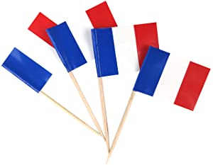 JBCD 200 Pcs France Flag Toothpicks French Flags Cupcake Toppers Decorations, Cocktail Toothpick Flag Cake Topper Picks Mini Small Flag Cupcake Pick Sticks