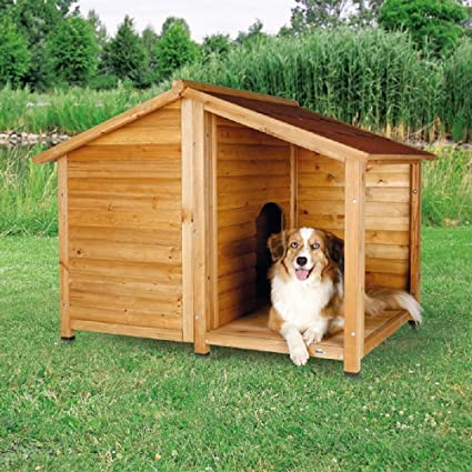 Caseta de madera para perro, estilo cabina