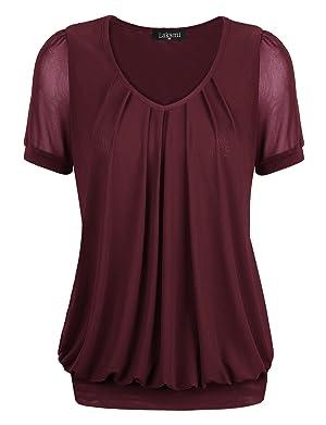 Tunic Sweater,Laksmi Women's V-Neck Lightweight Comfy Nylon Knitting Tunic Blouse,X-Large Wine