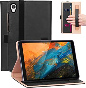 Timewall Multi-Angle Stand Case for Lenovo Tab M8 HD FHD 8 Inch Tablet 2019 TB-8705F/N TB-8505F/X/I, with Hand Strap Card Cash Slot Elastic Band Pen Holder PU Leather Smart Full Cover Black