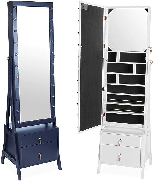 White Mirror Jewellery Cabinet Free Standing Armoire Storage Makeup Organiser UK