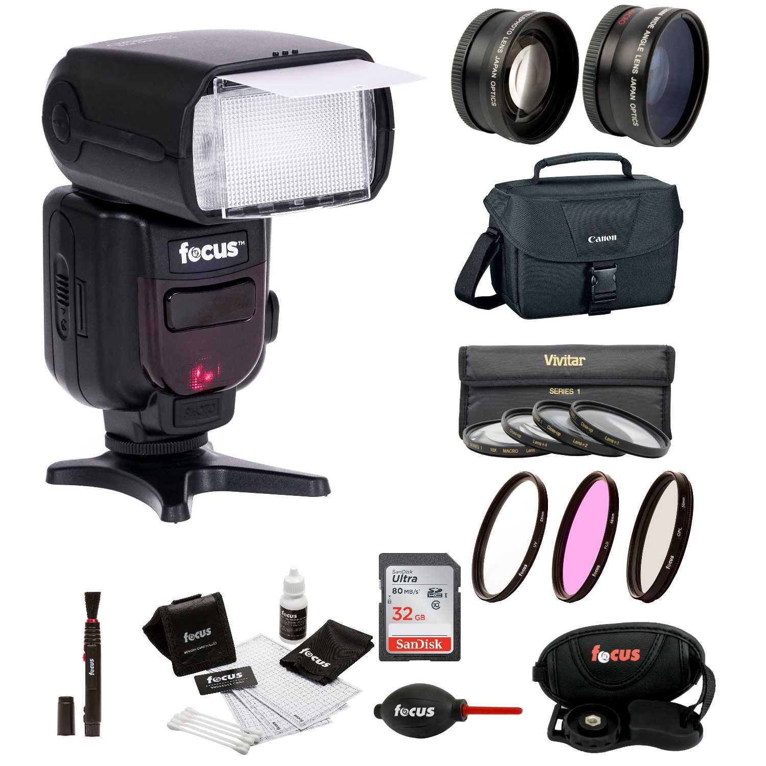"58MM Accessory Kit For Canon EOS DSLR""s With Bounce Zoom Swivel Flash Advanced Travel Kit"