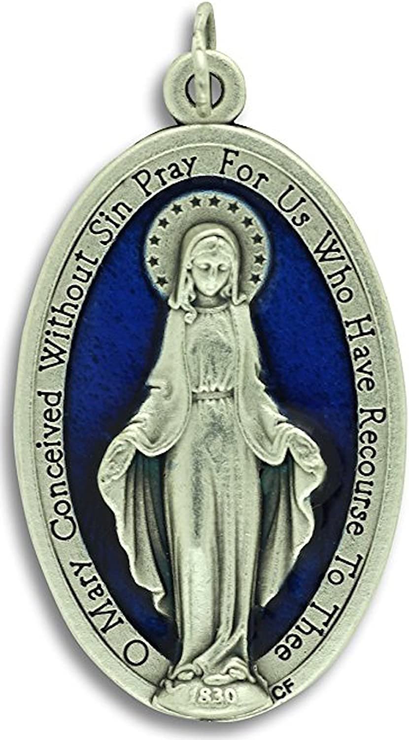 """AMZ Beads - XL Large Blue Enamel Miraculous Mary Medal 1.75"""" Medals Rings Included"""