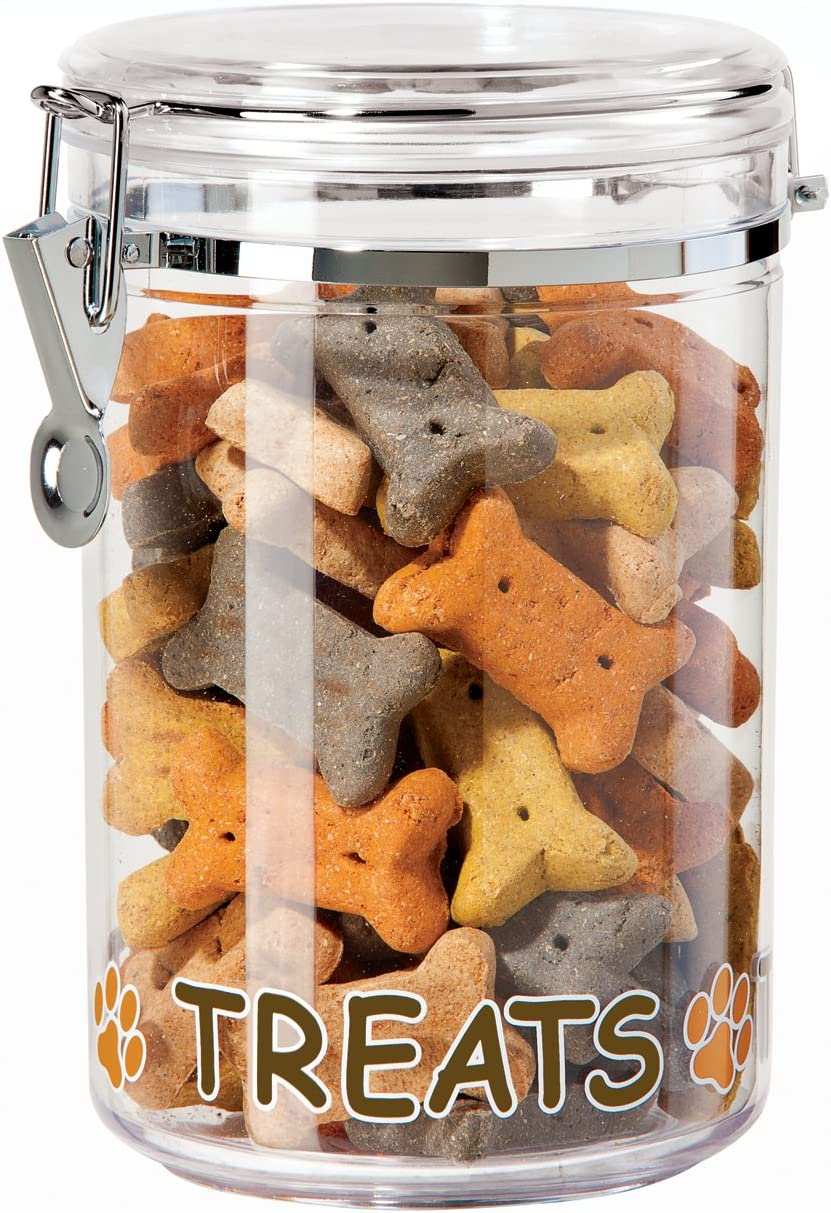 Oggi Acrylic Airtight 51-Ounce Pet Treat Canister with Treats and Paws Motif -Food Storage Container