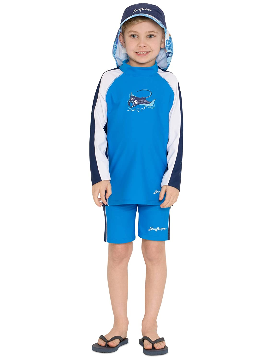 Sun Protection UPF 50 SunBusters Boys Two-Piece Long Sleeve Swimsuit Set