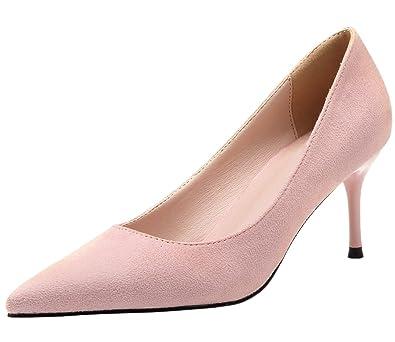 13497f93d1b51 BIGTREE Pink Women Pumps Suede Elegant Pointed Toe High Heels Dress Shoes  10 B(M) US