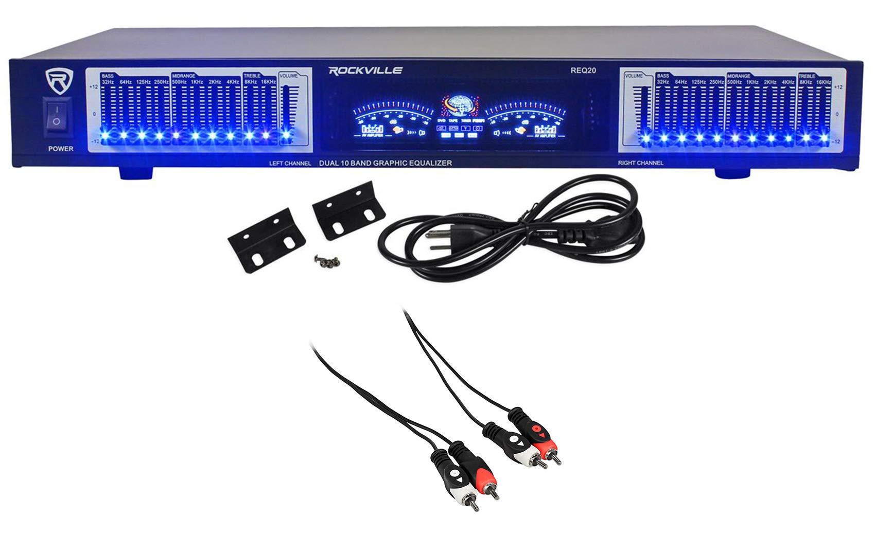 "Rockville REQ20 19"" Pro Rack Mount Dual 10-Band Graphic Equalizer EQ+VU Meters"