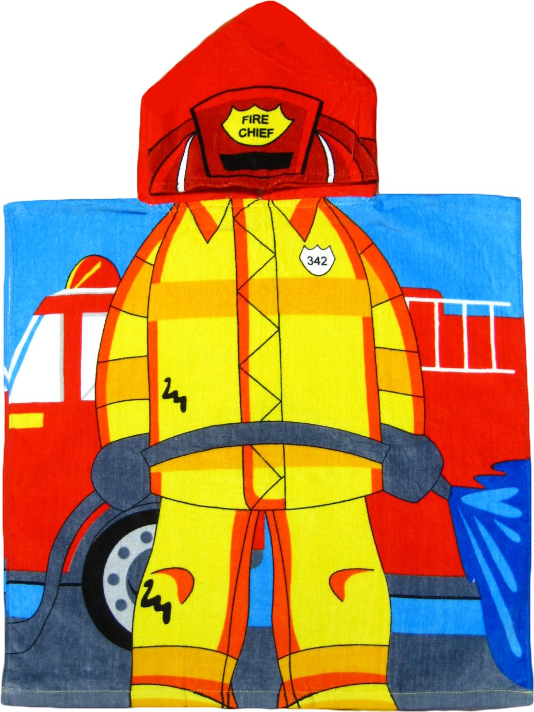 Fireman 100% Cotton Poncho Style Hooded Bath & Beach Towel with Colorful Double Sized Design by Kreative Kids