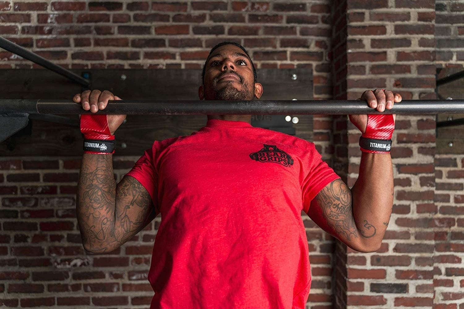 Pull ups Gymnastic Movements Olympic Lifting Made for Crossfit WOD T2B Color: Red Bear Grips Two Hole Titanium Gymnastics Hand Grip 60/% Thinner /& 10X Stronger Than Carbon Fiber Grips Size XS-XL