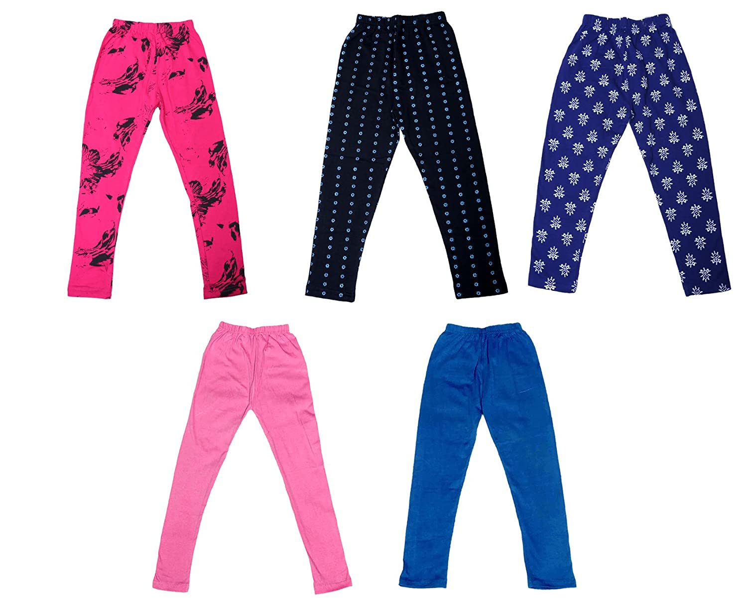 Pack of 5 Indistar Super Soft and Stylish 2 Solid and 3 Cotton Printed Leggings For Girls