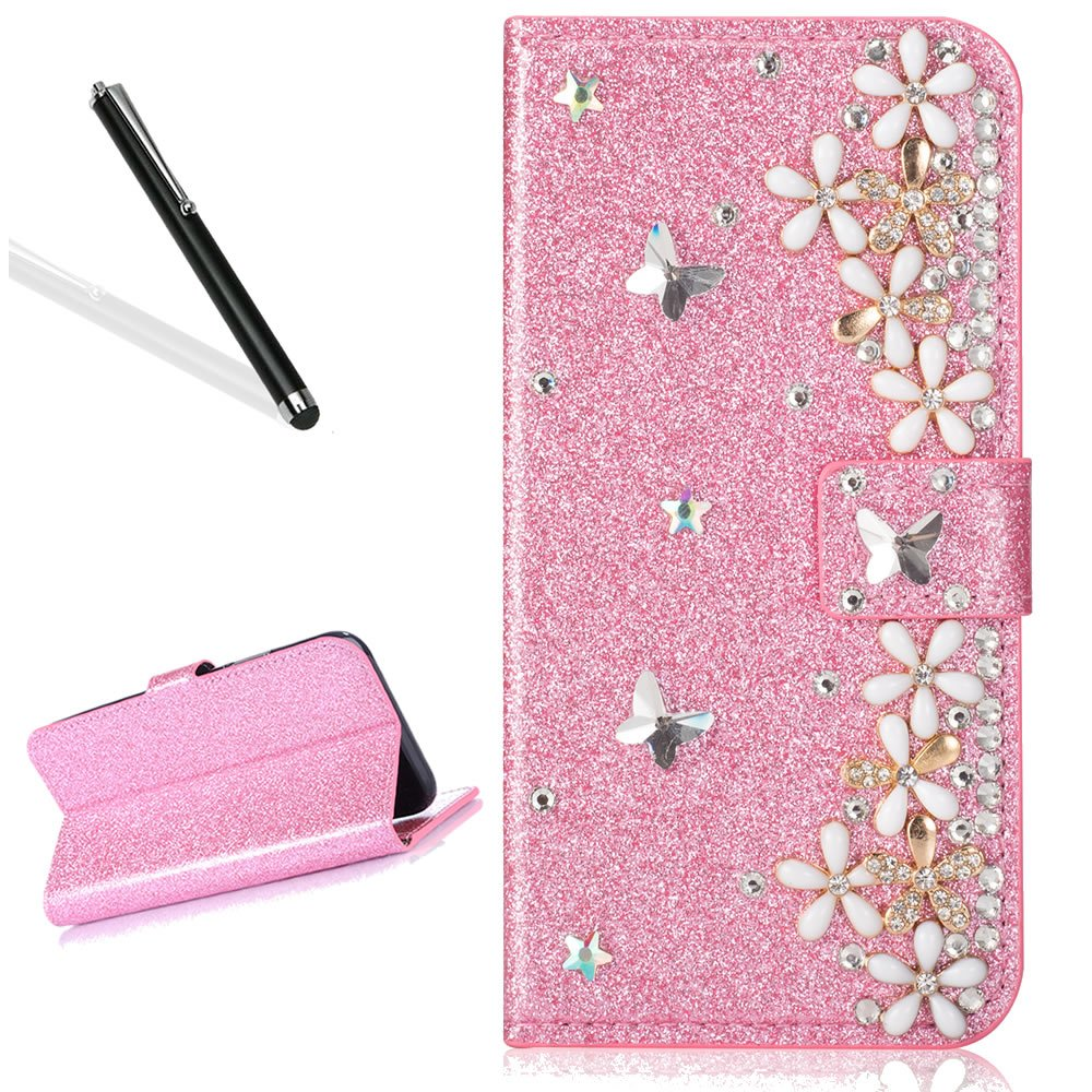 Galaxy S7 Diamand Case,Bling Glitter Folio Case for Samsung S7,Leecase Luxury Noble Sparkle Shining Pink Butterfly Flower Pattern Protect Cover for Samsung Galaxy S7