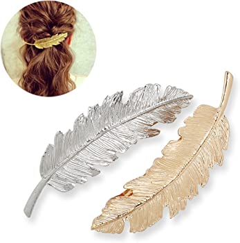 2-Pack Tinksky Leaf Shaped Hair Clip
