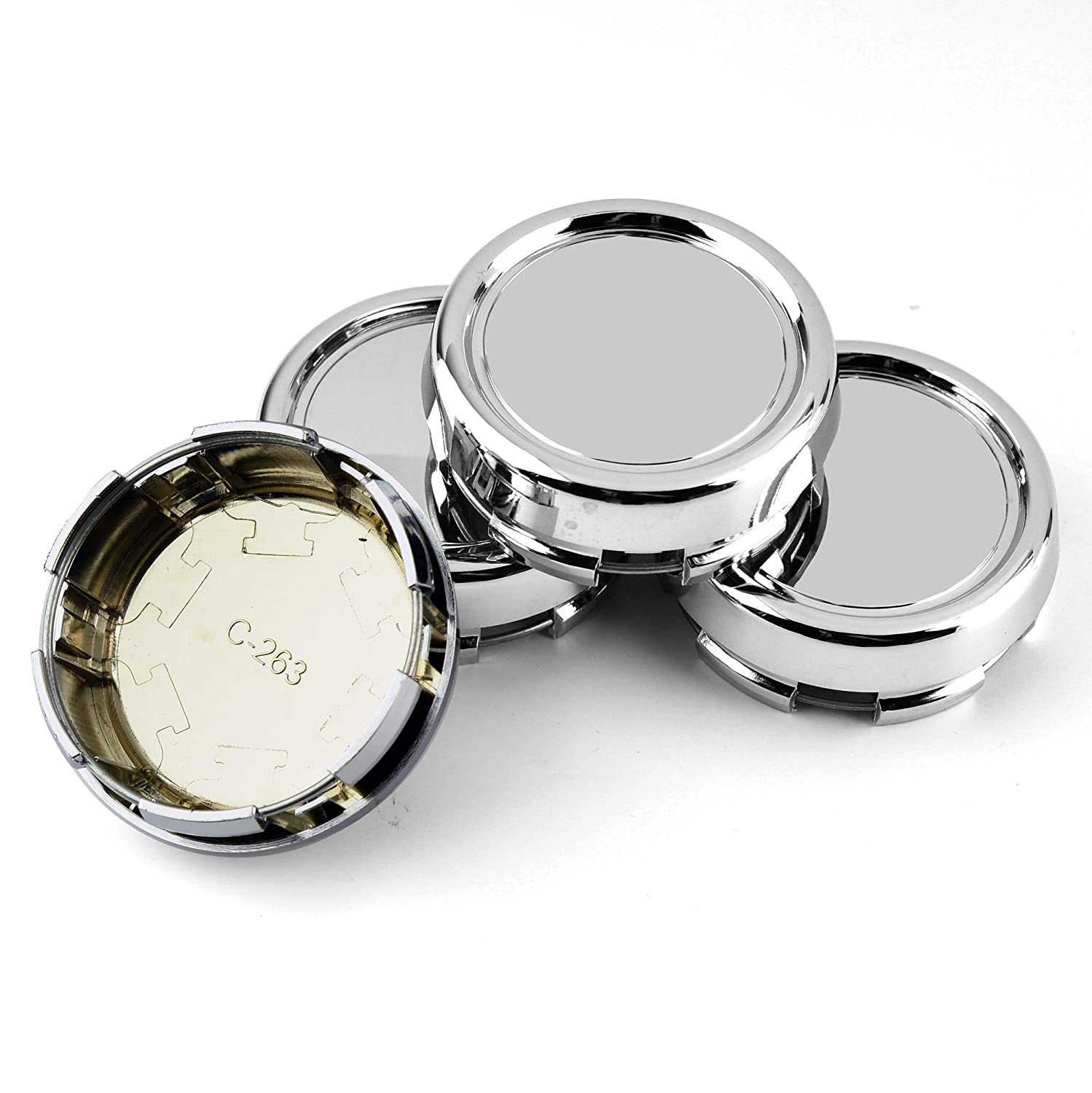 79mm 3.11in Chrome Silver Car Wheel Center Caps Cover Set of 4 for Advan RZ DF OZ Racing Superforgiata Ronal Penta S300 ML350 W230-C230 CLS55AMG W210-E240 W220-S320 2.87in //73mm