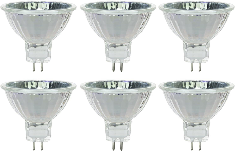 Sunlite Series 20MR16/CG/FL/12V/6PK Halogen 20W 12V MR16 Flood Light Bulbs, 3000K Bright White, GU5.3 Base, 6 Pack, 6 Count