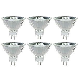 Sunlite 40708-SU 35MR16/CG/FL/12V/6PK Halogen 35W 12V Series MR16 Flood Light Bulbs, Bright White, GU5.3 Base, 6 Pack, 3200K