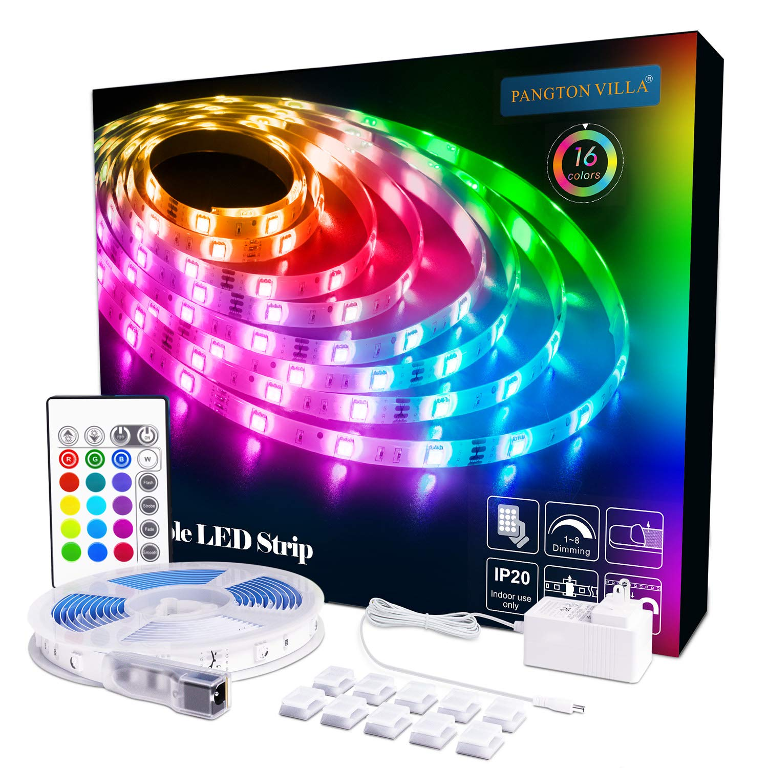 LED Strip Lights 164ft RGB 5050 LEDs Color Changing Kit with 24key Remote Control and Power Supply